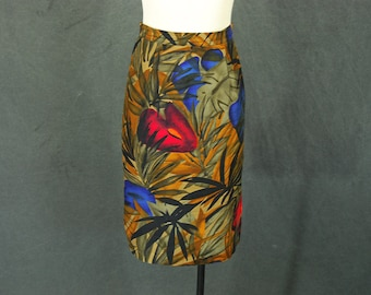 vintage 90s Pencil Skirt - 1990s Jungle Print Skirt Tropical Floral Skirt Sz S