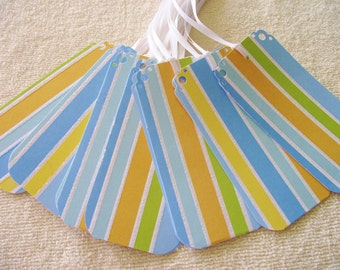 25 WEDDING WISH TREE Tags- Escort Cards - Blue And  Stripes