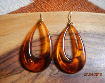 Gold-tone Acrylic Teardrop Dangle Earrings