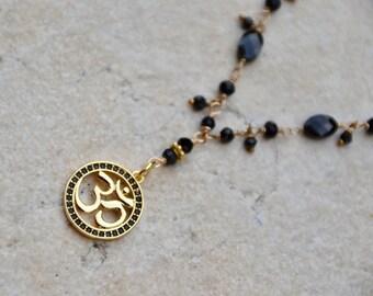 Om Charm Necklace Yoga Inspired Black Spinel Gold Filled