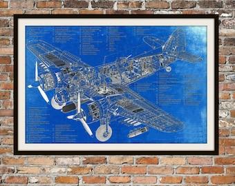 Blueprint Art of a De Havilland Plane Technical Drawings Engineering Drawings Patent Blue Print Art Item 0047