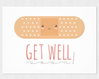 Get well card instant download PDF DIY Printable A6 plaster kawaii  Get well soon!