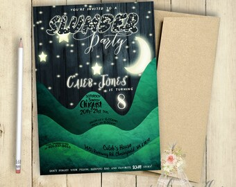 Slumber Party Invitation | Sleep Over Invitation | Boys Slumber Party Invitation | Birthday Party Invitation | PRINTABLE | Moon and Stars
