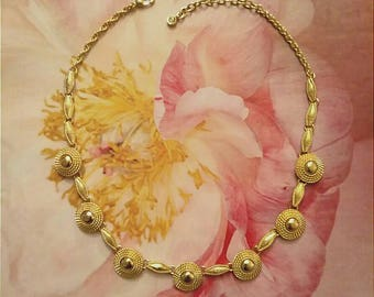 Gold Medallion Choker Necklace, MONET Jewelry, Designer Signed Jewelry, Accessories, Fashion Jewelry, Boutique