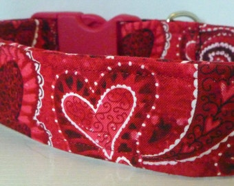 "FREE SHIPPING - Valentine Dog Collar -Red, Black & White Paisley Hearts-""Love"" - Free Colored Buckles"