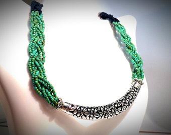Bib Necklace - Braided Necklace - Statement Necklace - Seed Bead necklace - Green Necklace - Black Necklace - Antique - Boho