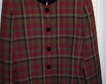 Jacket 10, Plaid Poly Jacket by Jacqueline Ferrar.  Special Snappy Career Vintage Jacket, - see details