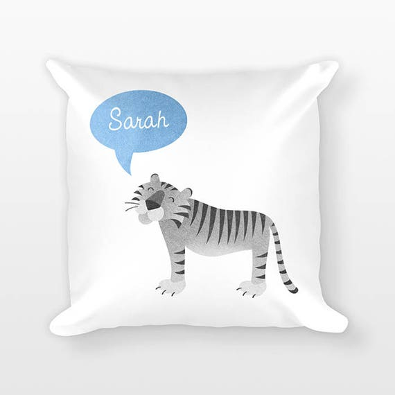Personalized Pillow, Tiger Pillow, Custom Name Pillow, Gift for Kids Gift, Kids Room Decor, Jungle Animal Pillow, Decorative Throw Pillow