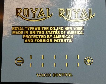 Decals for Royal Portable typewriters - different models