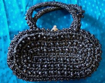 black SIMON ITALY vintage PURSE handbag raffia beads