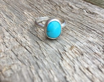 Sterling Silver size 6.25 Stacking Ring with Number 8 Turquoise stone