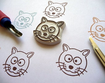 Cat Rubber Stamp, Kitten Stamp, Pet Stamp, Kitty Cat Rubber Stamp, Birthday Baby Shower