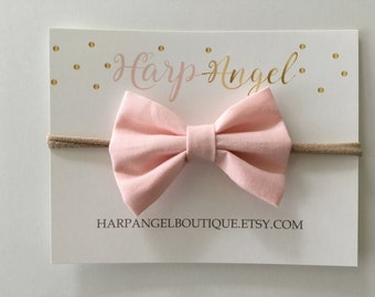 Light Baby Pink Fabric Hair Bow Nylon One Size Headband or Clip Newborn / Infant / Toddler / Girls