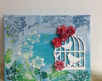 Bird Flower Mixed Media Canvas Bookcase Art  Nursery Decor Original Canvas Art Mixed Media Art