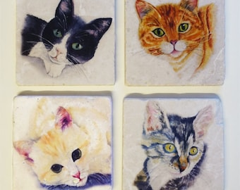 Cat kitty Coasters, Set of 4 Absorbent Tumbled Stone Coasters Original Watercolors