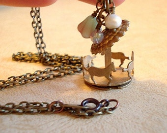Carousel Necklace Merry Go Round Necklace  Brass Carousel Pendant Vintage Carousel Horse Necklace Jewelry