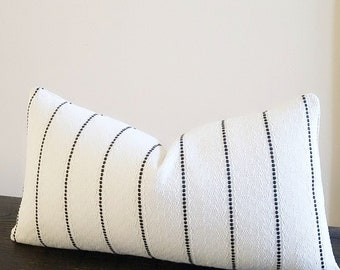 Lumbar pillow,  Black stripe pillow cover with white textured background - all lumbar sizes available - select your size during checkout