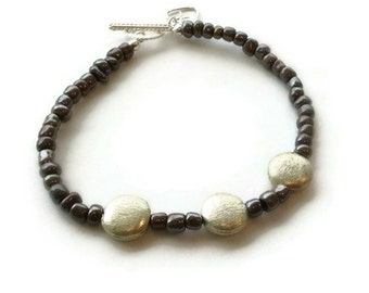 Purple Bracelet Sterling Silver Jewelry Heart Charm 925 Jewellery Layer Stack Fashion Dainty Gift B-231
