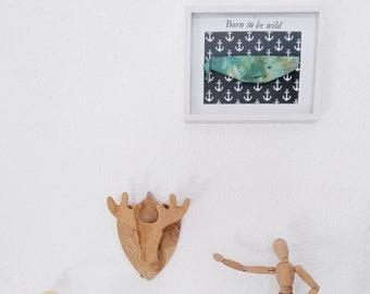Cuadro ballena, cuadro origami, cuadro ballena de papel, cuadro animales, cuadro animales de papel, cuadro ballena azul,regalo niños