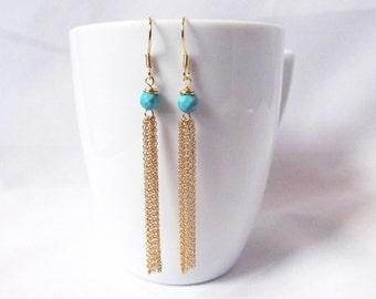 turquoise tassel earrings gold tassel earrings,drop earrings, long earrings,  long tassel earrings, boho tassel earrings, turquoise jewelry