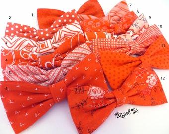 Mismatch Tangerine Wedding Bow Ties, Mango  Wedding Bow Ties, Hot Coral Wedding Bow Ties, Coordinating Bow Ties, Mix and Match Bow Ties
