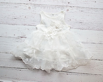 Rustic Flower Girl Dress, White Lace Dress- Rustic Lace Flower Girl Dress, Lace Rustic Dress, White Baptism Dress, Birthday Dress