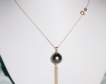 """Natural 16mm Gray Tahitian Cultured Pearl, Solid 14kt Yellow Gold Tassel, 18"""" Chain Necklace"""