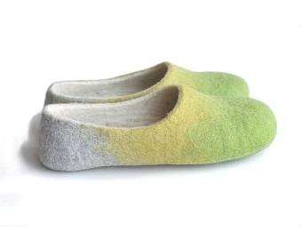 Summer Sale Handmade wool felted slippers - house shoe - earth - spring color - apple green - aniseed yellow-grey