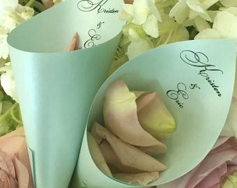 Personalized Wedding Petal Favor Cones (Shown in Aquamarine)