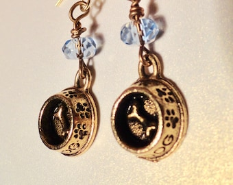 Dog Lover's Earrings, Little Doggie Bowl with Dog Bone, set off with blue crystal.  Dangling Earrings.