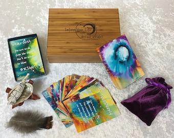 Gifts for Her,  Bamboo Gift Box, Inspirational Card Deck, Original  Paintings, Abstract Art, Jumbo Cards, Art Painting, Original Art