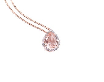 genuine gold pear rose with necklace solid carat shaped pendant fine morganite jewelry
