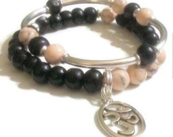 FREE GIFT with purchase Cream Magnesite Black Wood Namaste Charm Bracelet Set