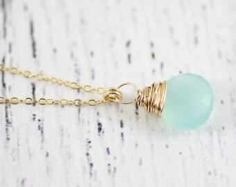 Aqua Blue Necklace, Chalcedony Necklace, Gold Pendant Necklace, Wire Wrap Necklace, Bridesmaid Jewelry, Light Aqua Necklace