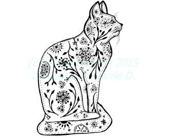 Cat Art, Cat Drawing, Pen and Ink Art, Black and White Art, Line Art, Pen Drawing, Ink Art, Ink Drawing, Nursery Art, Children's Room Art