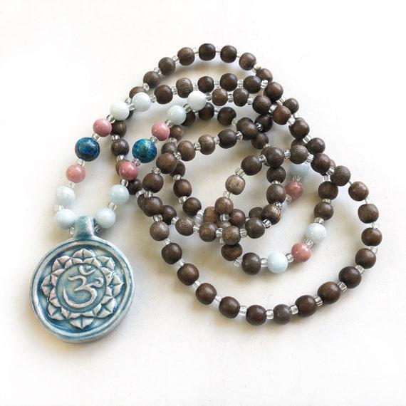 Lotus OM Mala Necklace, Lotus Mala Beads, Lotus Yoga Jewelry, 108 Bead Wood Mala, OM Jewelry, Bohemian Style Necklace