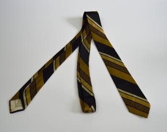 Vintage 1960s Black and Yellow Gold Striped Silk Skinny Tie