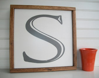 Capital Letter Sign . Letter S . Distressed Letter . 12 1/2 x 12 1/2 .  Alphabet Sign . Family Sign . Wedding Gift . Gallery Wall .