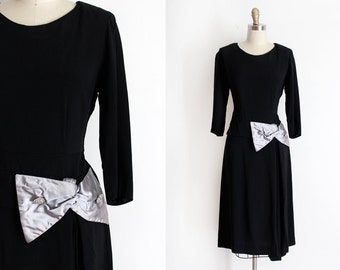 CLEARANCE vintage 1940s dress // 40s black crepe evening dress with big bow