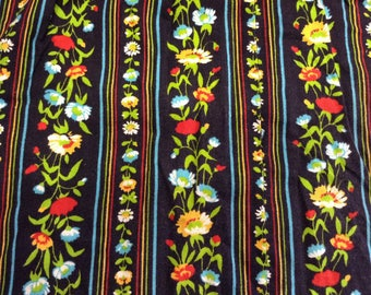 2 cut black base, stripes and multicolored flowers liberty cotton