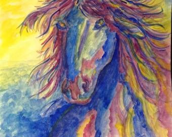 "Note Card Set of 4 horse designs for Equestrian lovers, teacher gifts, etc. Blank inside with original poem ""Untamed Spirit"" on back"