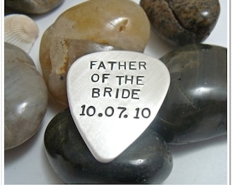 Father of the Bride Personalized Guitar Pick - Sterling Silver Hand Stamped Guitar Pick - Wedding Father of the Bride Groomsmen Gift