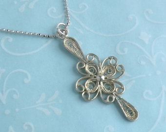 Filigree Cross Pendant Necklace - Delicate Vintage Sterling Silver Cross