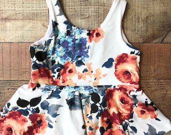 White Coral Red Floral Peplum Top Girls 6 months to 4T