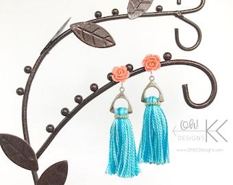 EarringsPale Coral tassel earrings