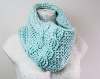 READY TO SHIP Crochet Cabeled Cowl in SeaBreeze Light Blue Mint Aqua Infinity Scarf