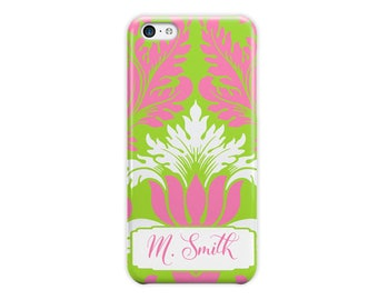 Gift for women Damask phone case, Floral Lime green and preppy pink For 4/4s, 5/5s, 6/6s, 7, 8, 5c, SE X and Plus phone covers (1781)
