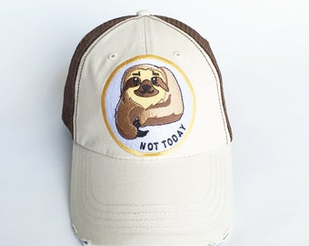 Sloth Baseball Cap, Sloth Gift, Baseball Cap, Sloth for Women, Embroidered Patch Hat, Sloth Hat, Women's Sloth Gift, Brown Baseball Cap