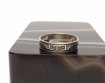 Tribal Design Ring, Sterling Silver Size 5