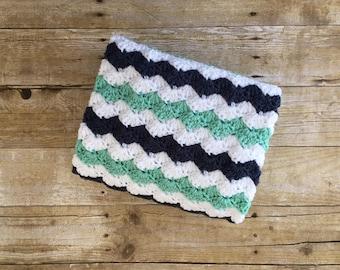 Mint and Navy Baby Blanket. Crocheted Baby Blanket. Striped Baby Blanket. Tummy Time Blanket. Baby Shower Gift. Farmhouse Nursery Decor